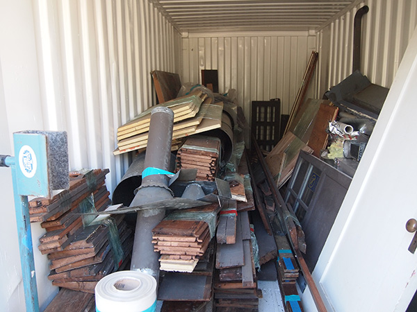 Doors, millwork, devices and trim were removed, cataloged and placed in storage containers.